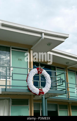 A wreath marks the spot at the former Lorraine Motel, where Martin Luther King Jr. was assassinated on April 4, 1968, now the National Civil Rights Mu