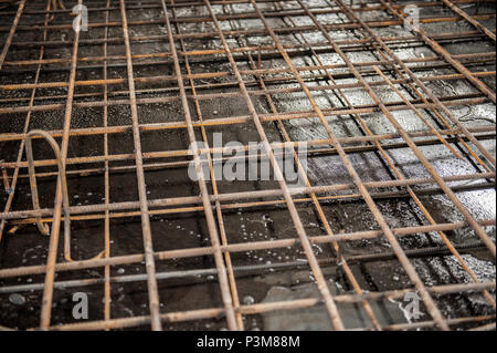 building armature are located in the warehouse of metallurgical products. Element of the constructional structure. - Stock Photo