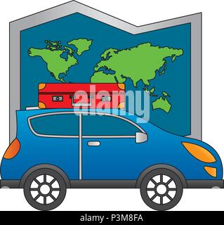 automobile with suitcase in roof travel map world - Stock Photo