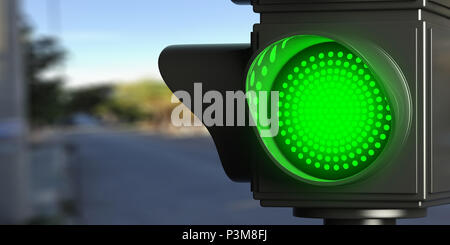 Green led traffic lights on blur street background, copy space. 3d illustration - Stock Photo