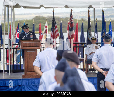 Gen. David L. Goldfein, U.S. Air Force Chief of Staff, provides remarks during an assumption-of-command ceremony at Joint Base Pearl Harbor-Hickam, Hawaii, July 12, 2016. Goldfein and Adm. Harry B. Harris, Jr., U.S. Pacific Command commander, presided over the ceremony in which Gen. Terrence J. O'Shaughnessy assumed command of Pacific Air Forces. (U.S. Air Force photo by Capt. Raymond Geoffroy) - Stock Photo
