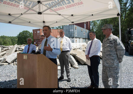 Vermont Governor Peter Shumlin, addresses media during a press conference at Camp Johnson, Colchester, Vt., July 13, 2016. The state of Vermont will be hosting Vigilant Guard 16, a training exercise that enables both state and National Guard resources to respond to multiple, geographically disparate, catastrophic disasters in order to strengthen regional partnerships and validate crisis action plans. (U.S. Air National Guard photo by Tech. Sgt. Sarah Mattison) - Stock Photo