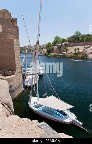 Feluccas, traditional wooden sailing boats, moored in the Nile River at the ruins of Abu and the Aswan Museum, on Elephantine Island at Aswan, Egypt. - Stock Photo
