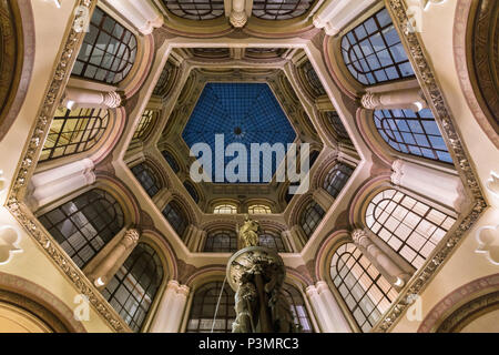 View of dome and fountain in Ferstel Passage in Vienna, Austria - Stock Photo