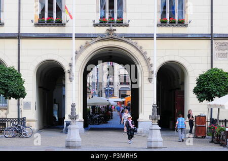 View through an arched passage to the Sukiennice, Wroclaw, Poland.  located in the main marketplace - Stock Photo