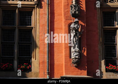 Architectural details and statues on neo-Gothic Town Hall or Ratusz in Wroclaw's market Square. Poland June 2018 - Stock Photo
