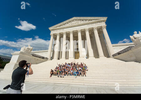 The Supreme Court Building is the seat of the Supreme Court of the Judicial Branch of United States of America. Completed in 1935, it is located in th - Stock Photo
