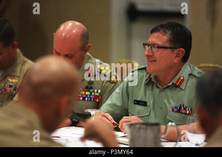 New Zealand Defense Force Maj. Gen. Timothy Gall, commander, Joint Forces New Zealand, speaks with U.S. Marine Corps Lt. Gen. John A. Toolan, commanding general, Fleet Marine Force, Pacific, during a bilateral meeting during Pacific Command Amphibious Leaders Symposium 2016 in San Diego, Calif., July 11, 2016. Closer military-to-military bonds facilitate clear lines of communication, and foster a spirit of cooperation to meet regional and global challenges for mutual benefits. More than 20 allied and partnered nations, including the U.S. are participating to strengthen working relationships ac