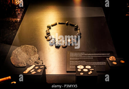 Italy Sardinia Cagliari National archeologic museum ground floor from the Neolotic to the High Middle Ages Necklace in glass paste and mirror - Stock Photo