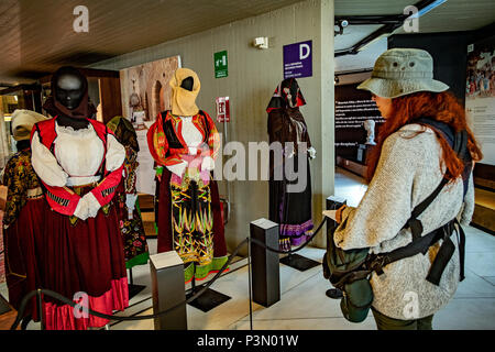 Italy Sardinia Cagliari National archeologic museum Sardinian costumes - Stock Photo