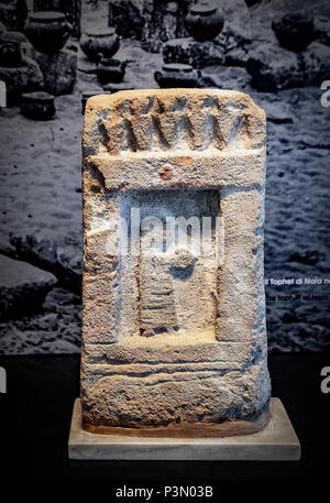 Italy Sardinia Cagliari National archeologic museum stele of Phoenician Punic Nora - Stock Photo