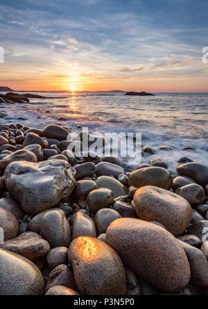 Boulder Beach in Acadia National Park at Sunrise - Stock Photo