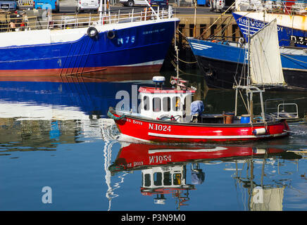 7 June 2018 A small trawler with a small sail steaming into the busy Kilkeel Harbour in County Down Northern Ireland - Stock Photo