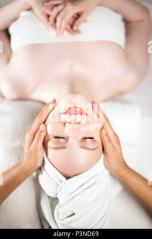 Face massage. Healthy skin and body care. - Stock Photo
