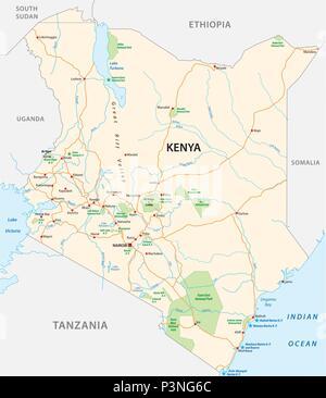 kenya road and national park vector map - Stock Photo