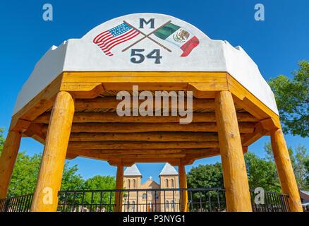New Mexico, Mesilla, Old Mesilla Plaza, bandstand, Basilica of San Albino in background - Stock Photo