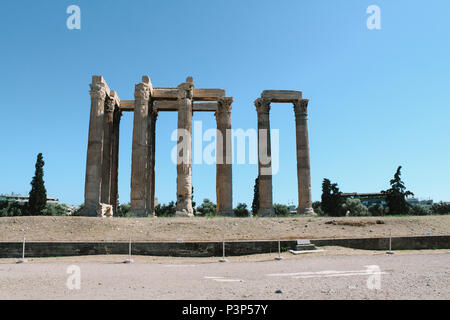 The Temple of Olympian Zeus in Athens, Greece - Stock Photo