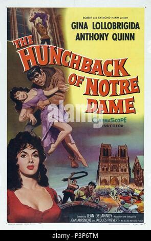 Original Film Title: NOTRE DAME DE PARIS.  English Title: THE HUNCHBACK OF NOTRE DAME.  Film Director: JEAN DELANNOY.  Year: 1956. Credit: PARIS-FILM PRODUCTIONS/ALLIED ARTISTS / Album - Stock Photo