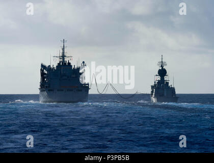 160720-N-KR702-037  PACIFIC OCEAN (July 20, 2016) – The Royal Australian Navy Anzac Class frigate HMAS Ballarat (FFH 155) conducts an underway replenishment with Military Sealift Command fast combat support Ship USNS Rainier (T-AOE 7), during Rim of the Pacific 2016. Twenty-six nations, more than 40 ships and submarines, more than 200 aircraft and 25,000 personnel are participating in RIMPAC from June 30 to Aug. 4, in and around the Hawaiian Islands and Southern California.  The world's largest international maritime exercise, RIMPAC provides a unique training opportunity that helps participan
