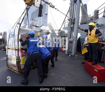 160720-N-KR702-268  PACIFIC OCEAN (July 20, 2016) – Sailors assigned to the Arleigh Burke-class guided-missile destroyer USS Shoup (DDG 86) steady a pallet carrying supplies while conducting an underway replenishment with Military Sealift Command fast combat support Ship USNS Rainier (T-AOE 7), during Rim of the Pacific 2016. Twenty-six nations, more than 40 ships and submarines, more than 200 aircraft and 25,000 personnel are participating in RIMPAC from June 30 to Aug. 4, in and around the Hawaiian Islands and Southern California.  The world's largest international maritime exercise, RIMPAC