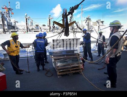 160720-N-KR702-381  PACIFIC OCEAN (July 20, 2016) – Sailors assigned to the Arleigh Burke-class guided-missile destroyer USS Shoup (DDG 86) prepare to send pallets to Military Sealift Command fast combat support Ship USNS Rainier (T-AOE 7) while conducting an underway replenishment, during Rim of the Pacific 2016. Twenty-six nations, more than 40 ships and submarines, more than 200 aircraft and 25,000 personnel are participating in RIMPAC from June 30 to Aug. 4, in and around the Hawaiian Islands and Southern California.  The world's largest international maritime exercise, RIMPAC provides a u