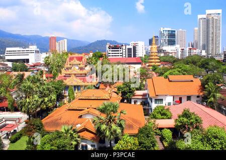 Aerial view on Pulau Tikus, thai Buddhist temple (Wat Chayamangkalaram) and Georgetown, Penang island, Malaysia - Stock Photo
