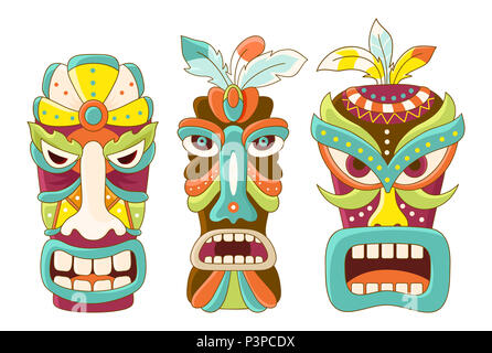 Collection of tiki tribal mask. Sticker set for scrapbooking. Vector template mask for greeting, decorations, congratulations in green, brown, blue, y - Stock Photo