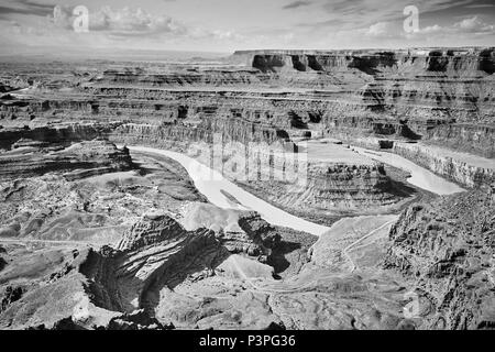 Colorado River and Canyonlands National Park seen from the Dead Horse Point State Park, Utah, USA. - Stock Photo