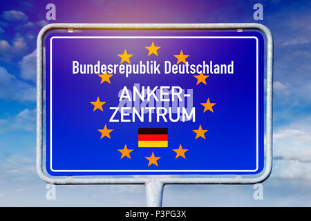 Sign with the inscription anchor Center, Schild mit der Aufschrift Ankerzentrum - Stock Photo