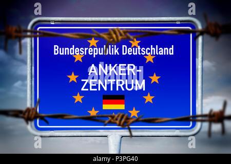 Sign with the inscription anchor Center, Schild mit der Aufschrift Ankerzentrum - Stock Photo