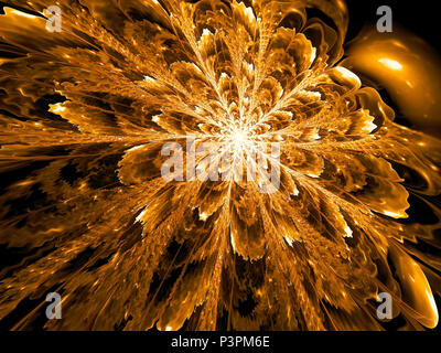 Fractal background - unusual flower with wavy blurred petals. Abstract computer-generated image. Design element or desktop wallpaper. - Stock Photo