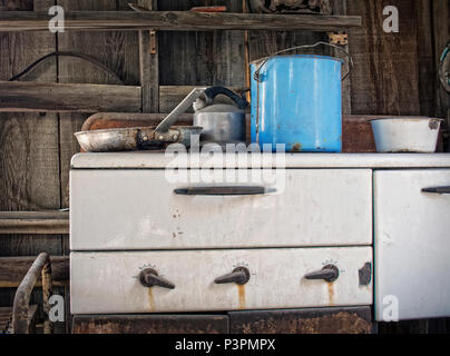Abandoned Kitchen In A Western Cabin - Stock Photo