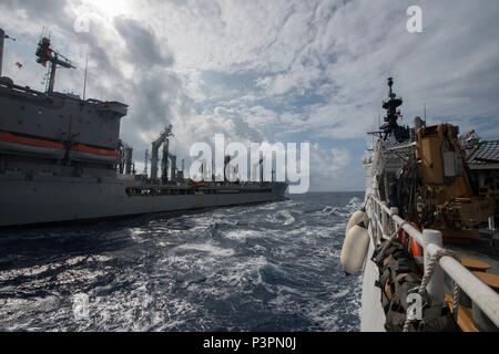 PACIFIC OCEAN (July 20, 2016) Coast Guard Cutter Stratton (WMSL 752 transits alongside Military Sealift Command underway replenishment oiler USNS Rappahannock (T-AO 204) in preparation for a refueling at sea evolution, during Rim of the Pacific exercise 2016. Twenty-six nations, more than 40 ships and submarines, more than 200 aircraft,  and 25,000 personnel are participating in RIMPAC from June 30 to Aug. 4, in and around the Hawaiian Islands and Southern California. The world's largest international maritime exercise, RIMPAC provides a unique training opportunity that helps participants fost