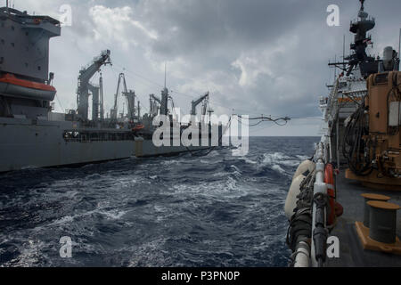 > PACIFIC OCEAN (July 20, 2016) Coast Guard Cutter Stratton (WMSL 752)prepares to receive fuel from Military Sealift Command underway replenishment oiler USNS Rappahannock (T-AO 204), during Rim of the Pacific exercise 2016. Twenty-six nations, more than 40 ships and submarines, more than 200 aircraft, and 25,000 personnel are participating in RIMPAC from June 30 to Aug. 4, in and around the Hawaiian Islands and Southern California. The world's largest international maritime exercise, RIMPAC provides a unique training opportunity that helps participants foster and sustain the cooperative relat