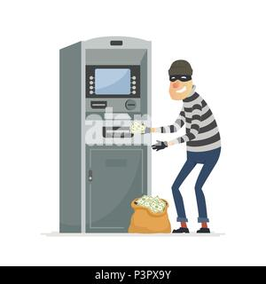 Thief stealing money from ATM- cartoon people characters illustration - Stock Photo