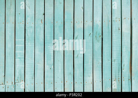 blue old wooden fence. wood palisade texture. planks background. - Stock Photo