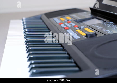 Electronic Keyboard piano close up with selective focus - Stock Photo