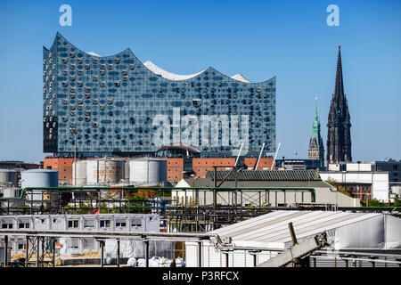 Elbphilharmonie, bell tower of St. Nicholas' and port facilities in Hamburg, Germany, Europe, Kirchturm von St. Nikolai und Hafenanlagen in Hamburg, D - Stock Photo