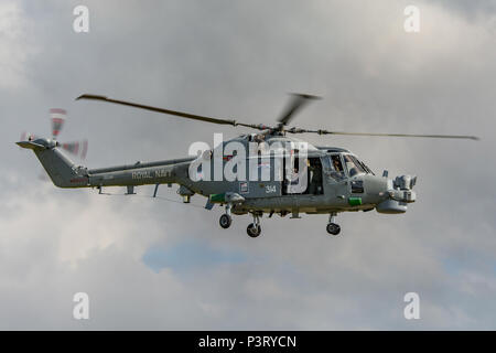 A British Royal Navy Lynx HMA8 helicopter in flight at the RNAS Yeovilton Air Day, UK on the 11th July 2015. - Stock Photo