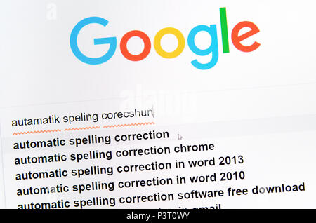 Computer screenshot: automatic spelling correction - Stock Photo