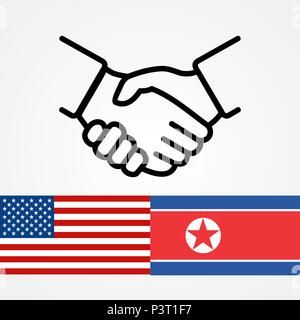 USA and North Korea handshake flags flat. - Stock Photo