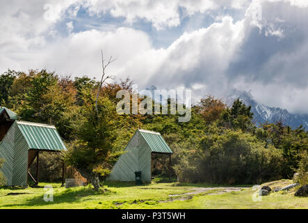Barbecue shelters at Lago Pehoe campsite, Torres del Paine National Park, Patagonia, Chile