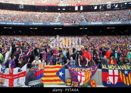 Barcelona,   Catalonia, Spain - Football fans in the Camp Nou stadium in Barcelona - Stock Photo