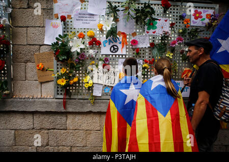 Girona, Catalonia, Spain - Mourning for Violent Police Operation on the Day of the Referendum on Independence - Stock Photo