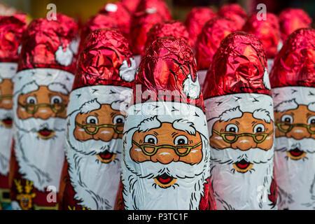 Santa Claus chocolate figure - Stock Photo