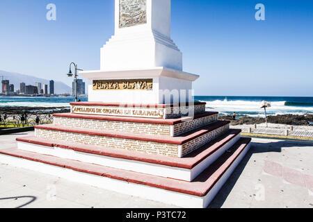 IQUIQUE, CHILE - 17.11.2015: PLAZA SLAVA - Monumento aos imigrantes croatas na Plaza Slava, na Praia Cavancha (Playa Cavancha). (Foto: Ricardo Ribas / Fotoarena) - Stock Photo