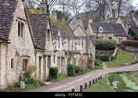 Houses of Arlington Row in the Cotswold village of Bibury, Gloucestershire, England - Stock Photo