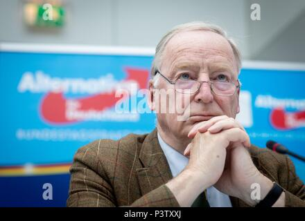 Berlin, Germany. 19th June, 2018. Alexander Gauland, parliamentary group leader of the Alternative for Germany (AfD) in the German Bundestag, participates in a press conference. Credit: Kay Nietfeld/dpa/Alamy Live News - Stock Photo