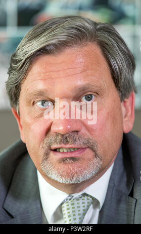 Berlin, Germany. 19th June, 2018. Dominik Bartsch, the UNHCR representative in Germany, during an interview with the German Press Agency. Credit: Jens Büttner/dpa-Zentralbild/dpa/Alamy Live News - Stock Photo