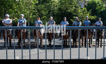 Philadelphia, Pennsylvania, USA. June 19 2018. Hundreds protested the arrival of Vice President Mike Pence at Rittenhouse Square demanding an end to forced separation of families at the southern border. Credit: Chris Baker Evens. Credit: Christopher Evens/Alamy Live News - Stock Photo